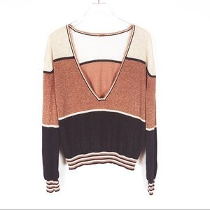 Free People | metallic color block sweater size M